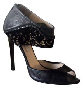 Jimmy Choo Peep Toe Ankle Strap Laser Cut Leather Lace black Sandals