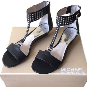 MICHAEL Michael Kors Studded Wedge Leather Black Sandals