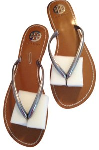 Tory Burch Leather Flip Flops Leather Silver Sandals