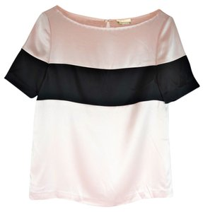 Kate Spade Short Sleeve Thiebaud Pink Colorblock Silk Satin Size 4 Top