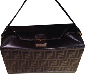 0e6df2134f1e Fendi Vintage Leather Canvas Classic Vanity Box Purse Brown Travel Bag