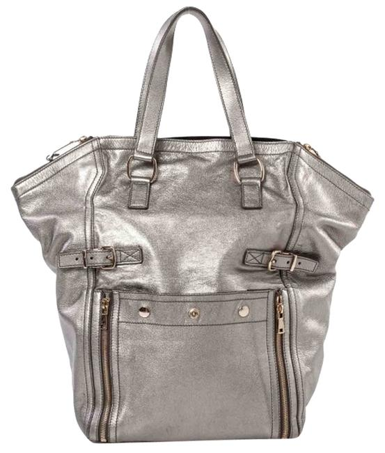 Item - Downtown Large Silver Leather Tote