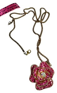 Betsey Johnson Betsey Johnson Long Necklace With Pink Flower Crystal N169