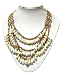 Kate Spade Kate Spade New York Gold White Shimmer Triple Row Chain Necklace