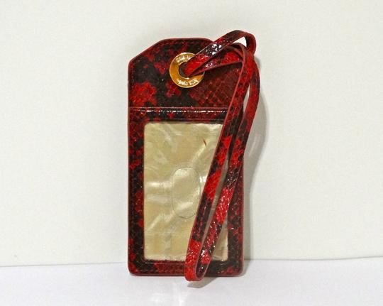 Kate Spade Kate Spade New York 14k Gold Plated Red Black Crocodile Leather ID Holder