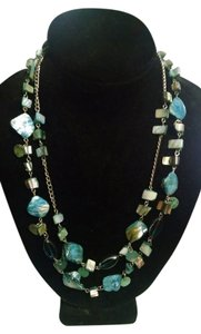 Other Double Strande Blue Shell Necklace N007