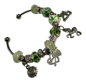 European glass bead bracelet with charms