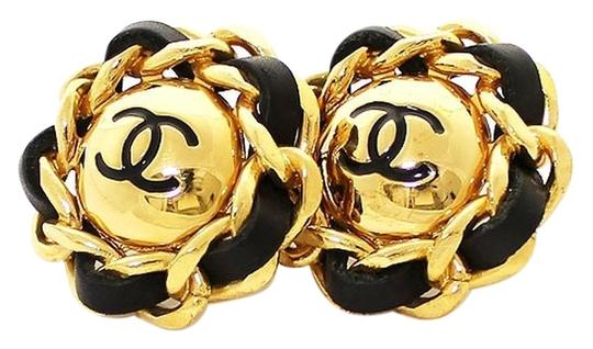 Chanel Authentic Chanel Vintage Leather and Gold Plate Links CC Clip Earrings