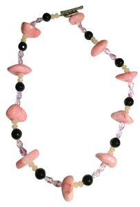 Other Handmade, pink stone, crystal and black onyx necklace N141