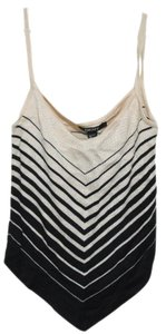 DKNY New Silk 100% Pointed Knit Striped Shirt Nwt Withttag L Large 12 14 Sleeveless Ivory Top beige black