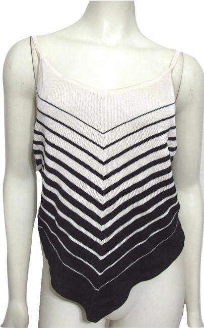 DKNY New Silk Pointed Knit Striped Shirt Withttag L Large 12 14 Sleeveless Ivory Top beige black