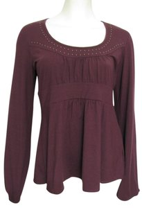 Michael Kors New Burgundy Wine Shirt Stud Large L 12 14 Longsleeve Women Nwt Tunic