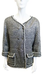 Chanel Fantasy Tweed Silver Silver, Black Jacket