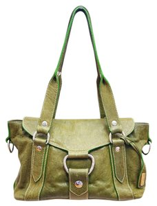 Miu Miu Olive Green Distressed Leather Tote Silver Hardware Medium Shoulder Bag