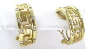 14KT SOLID YELLOW GOLD GREEK KEY DESIGN 8 WHITE STONES 6.6 GRAMS EARRINGS CLIP