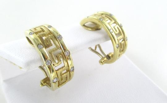 Other 14KT SOLID YELLOW GOLD GREEK KEY DESIGN 8 WHITE STONES 6.6 GRAMS EARRINGS CLIP