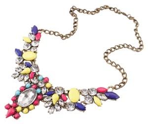 Girls & Queens Girls & Queens Crystal Jewelry Statement Vintage Bib Necklace Multi-Color