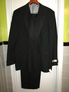 Oleg Cassini New! Oleg Cassini Black Tux Tuxedo Suit 46 L Pants Waist 41
