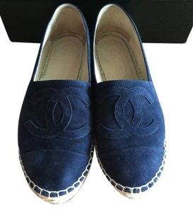 Chanel Fur Suede navy blue Flats