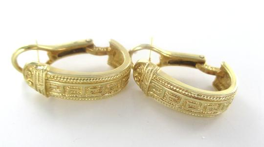 Other 14KT SOLID YELLOW GOLD GREEK KEY HOOP EARRINGS 7.6 GRAMS FINE JEWELRY NO SCRAP