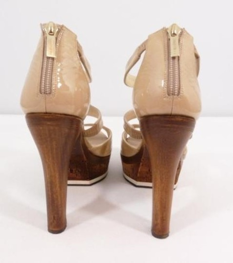 Jimmy Choo Patent Leather Peep Toe Cork High Heels Beige Sandals