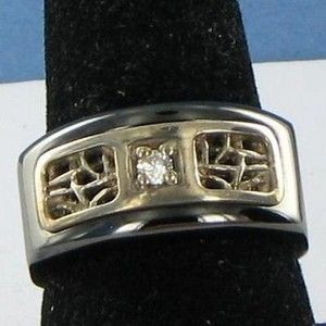 Edward Mirell Pulse Mens Ring 0.05cts Diamond Titanium 925