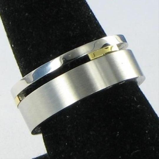 Edward Mirell Stainless Steel 18k Yellow Gold Mens Ring Band