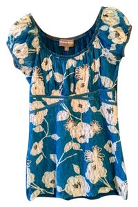 Vanity Short Sleeved Free Shipping New Jersey Lace Floral Blue White Flower Womens L Print Tank 12 14 Top Teal
