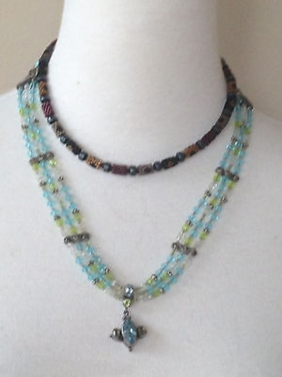 Other Multi strand blue & green crystal necklace
