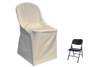 250 Folding Flat Chair Covers In Ivory