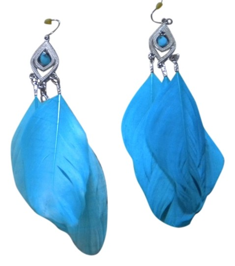 Charming Charlie Light Blue Feathered Earrings