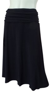 Fylo by Nylon Stretch Knit Ruched Slinky Skirt Black