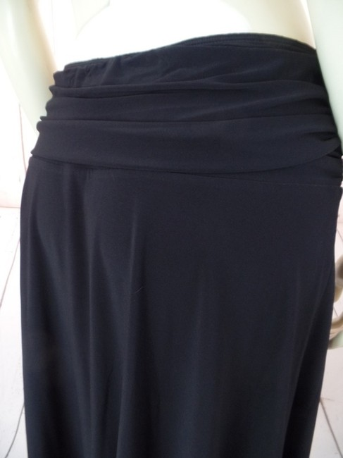 Fylo by Nylon Stretch Knit Ruched Slinky Sassy Seamed Elastic Large A-line Wide Waistband Skirt Black