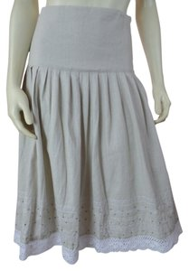 Ninety Small Linen Boho Side Zip Beading Lace Embroidery Peasant Lined Pleats Side Zipflat Panel Waist Skirt Light Gray