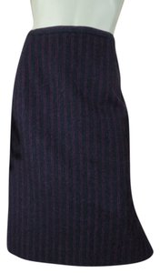 Dana Buchman Straight Side Slit Wool Blend Cashmere Blend Nylon Blend Classy Lined Skirt Gray Heather & Wine Pinstripe