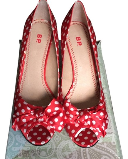BP. Clothing Red with white polka dots Pumps