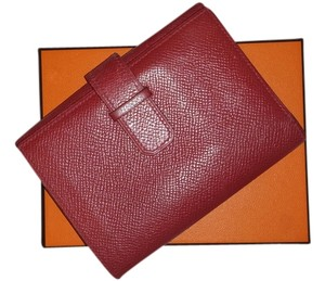 Herms Red Epsom Leather Threefold Wallet