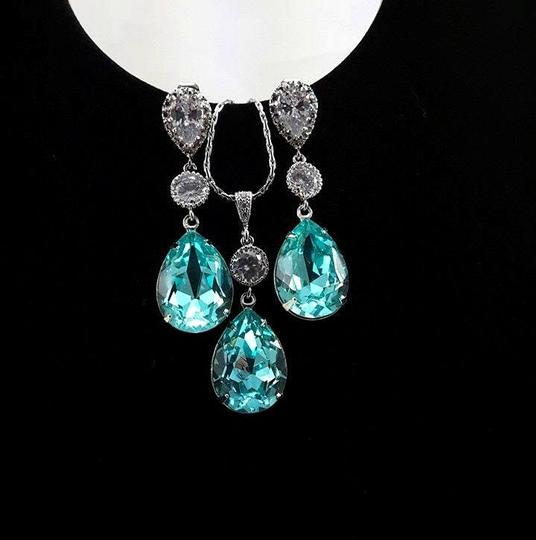 Bridal Jewelry Set Swarovski Crystal Light Turquoise Sterling Silver Weddings Jewelry Gift Necklac E And Earrings Set