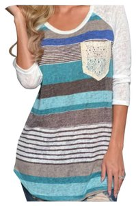 Tank Henley Comfy T Shirt Blue & Multi Color Stripes