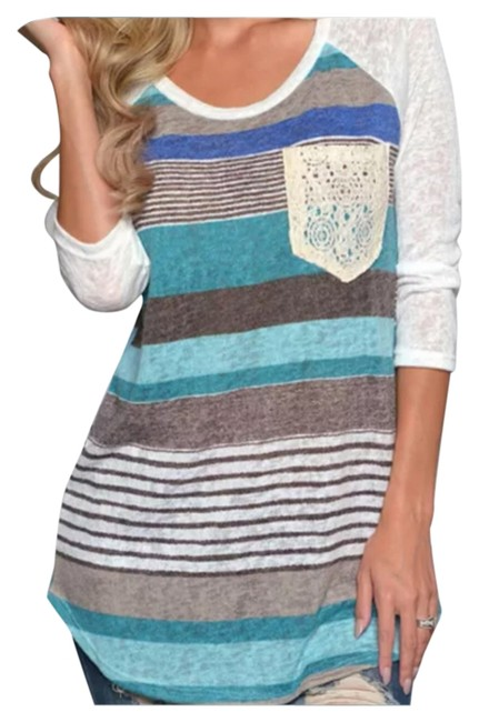 Other Tank Henley Comfy Free People T Shirt Blue & Multi Color Stripes