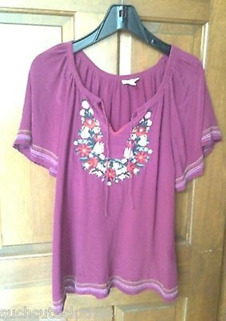 Preload https://item1.tradesy.com/images/joie-silk-peasant-tops-short-sleeve-in-embroidered-purple-or-red-tonal-5977420-0-0.jpg?width=400&height=650