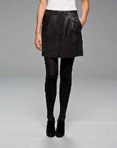 Vince Black Wool Blend Subtle Sheen Mini Mini Skirt Metallics