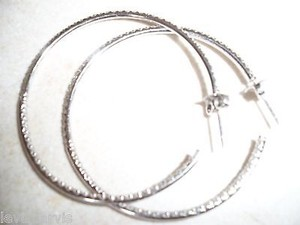 Other 18k White Gold Pave 1.40k Diamond Hoops 140 Stones Solomon Brother Jewelers