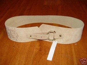 Other Twelfth Street By Cynthia Vincent Wide Suede Belt Nude Taupe