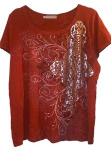 Maurices Cross Celtic Silver T Shirt Rusty Red
