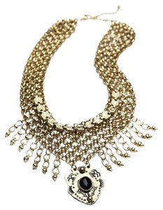 Free People Free People Drippy Mesh Collar Necklace Brass