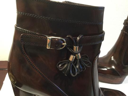 Stella McCartney All Brown E39 Italian vegan platform cylinder heels strap buckle tassels inside zippers Boots