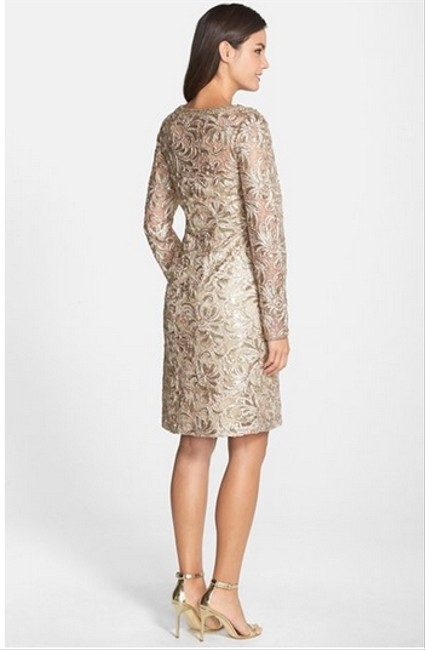 Sue Wong Soutache Sleeve Sheath Biege Dress