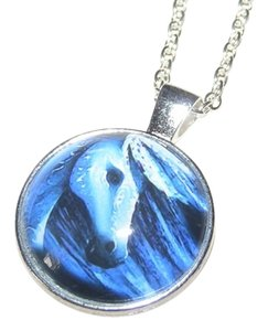 Glass Cabochon Painted Horse Necklace Free Shipping