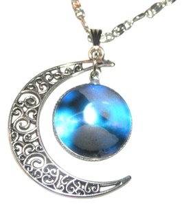 Blue Moon Galactic Silvertone Necklace Free Shipping